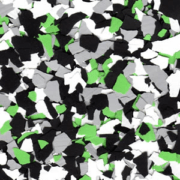green and black garage epoxy flake
